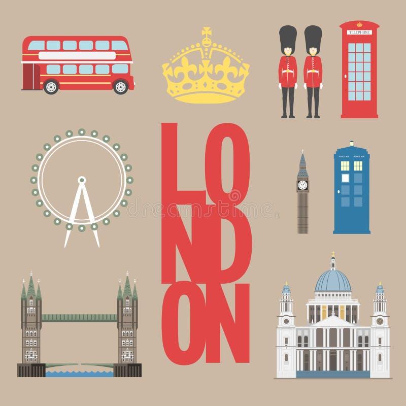 Grafische de reisinformatie van Londen De vectorillustratie, Big Ben, het oog, de torenbrug en het dubbele dek vervoeren, control stock illustratie