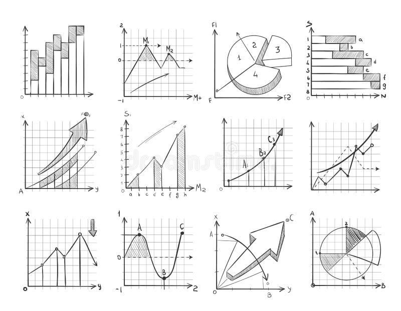 Grafische de zaken van de beeldverhaalschets, infographicselementen van de grafieken vectorkrabbel royalty-vrije illustratie