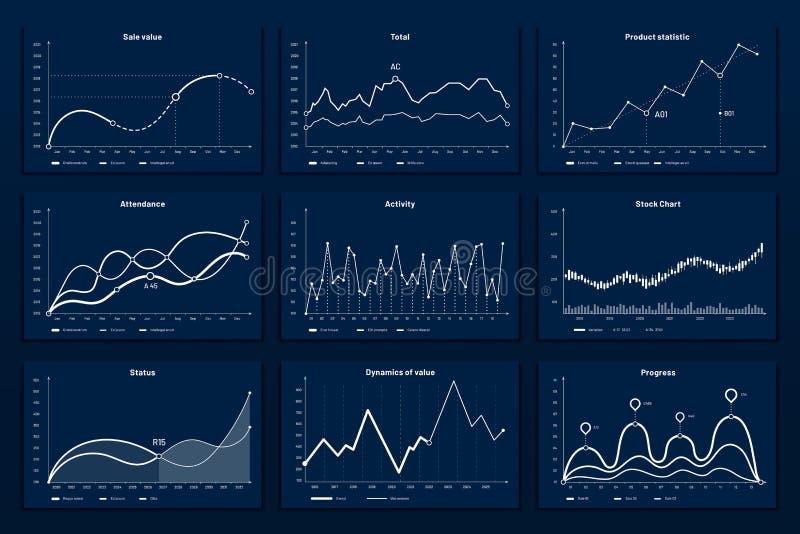 Grafische Diagramme der Daten Mathekoordinaten stellen, Wachstumstabellegraphiken und Diagrammvektorillustration des Geschäfts in stock abbildung