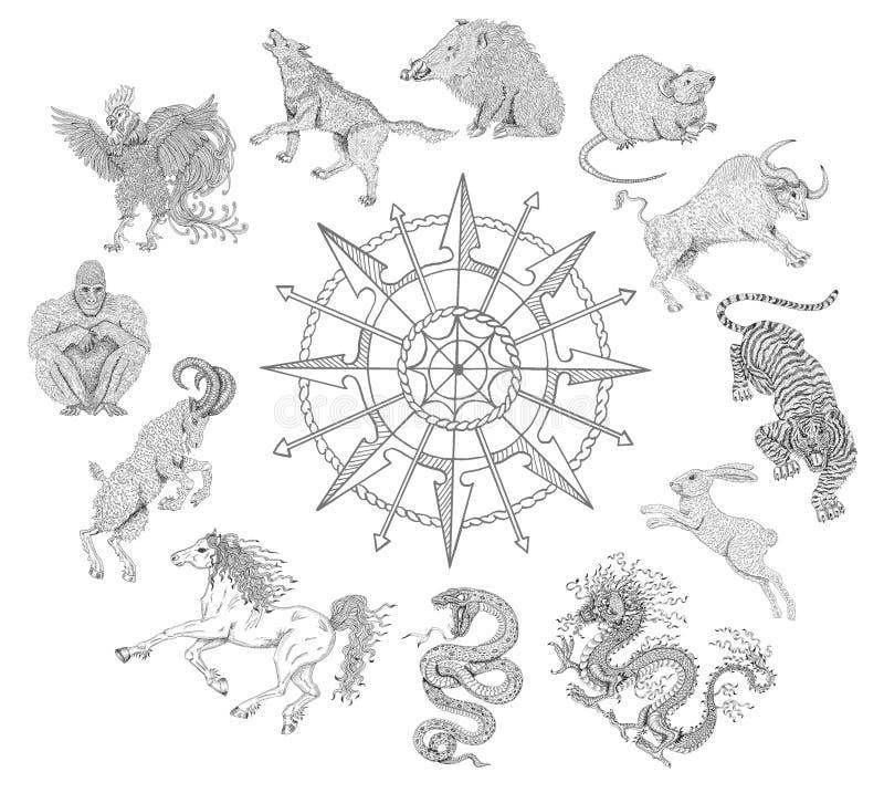 Grafische die grafiek met dierenriemdieren op wit worden geïsoleerd stock illustratie