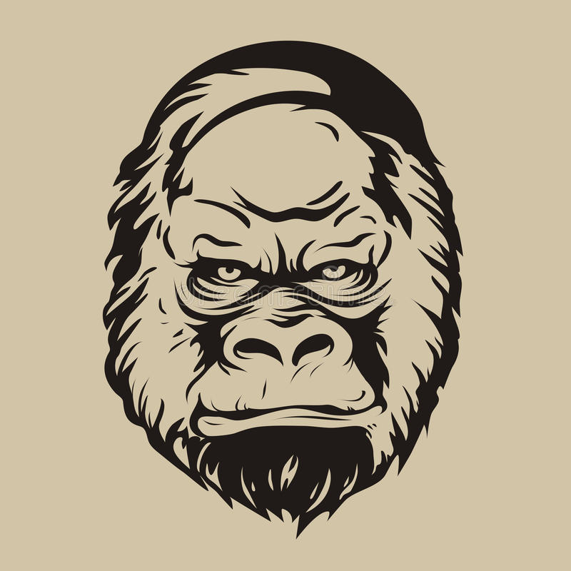 Grafische druk, het silhouet van een gorillagezicht stock foto