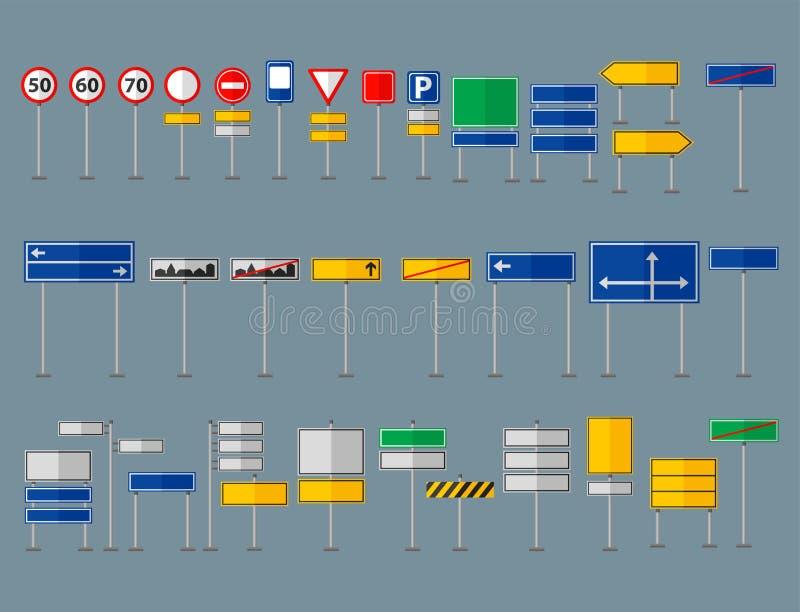 Grafische Elemente der Straßensymbol-Verkehrsschilder lokalisierten Straßenlandstraßen-Informationsvektor des Stadtbaus kreativen vektor abbildung