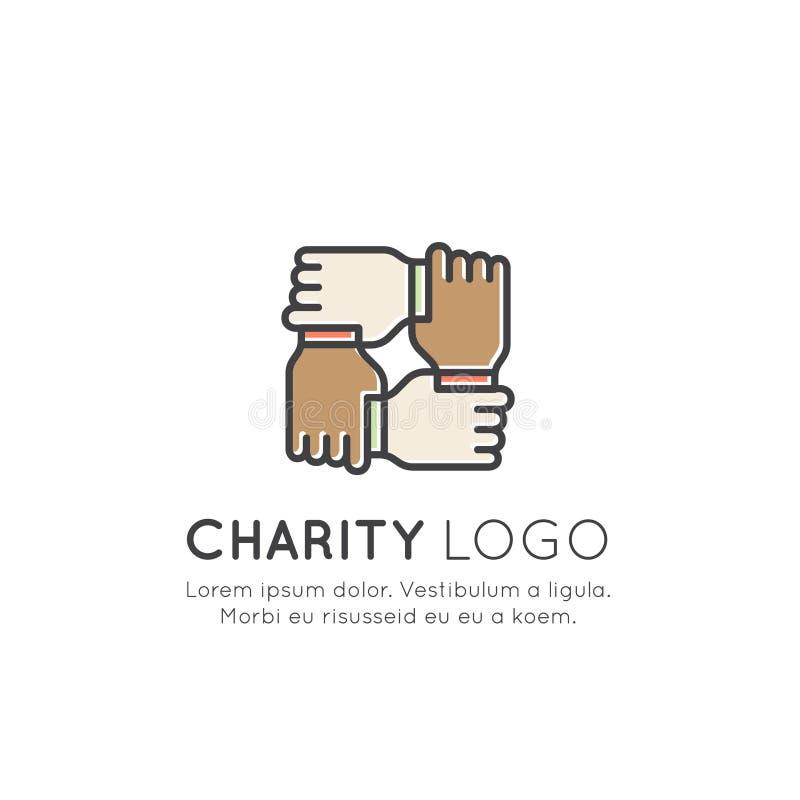 Grafische Elemente für gemeinnützige Organisationen und Spenden-Mitte Mittelbeschaffungssymbole, Crowdfunding-Projekt-Aufkleber,  lizenzfreie abbildung