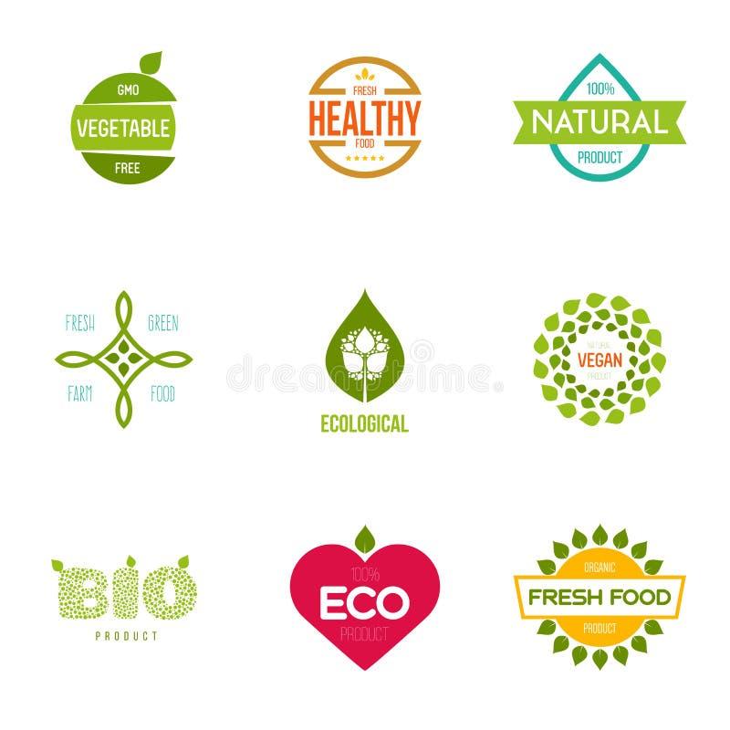 Grafische elementen editable voor ontwerp met vers, aard, biologische producten vector illustratie