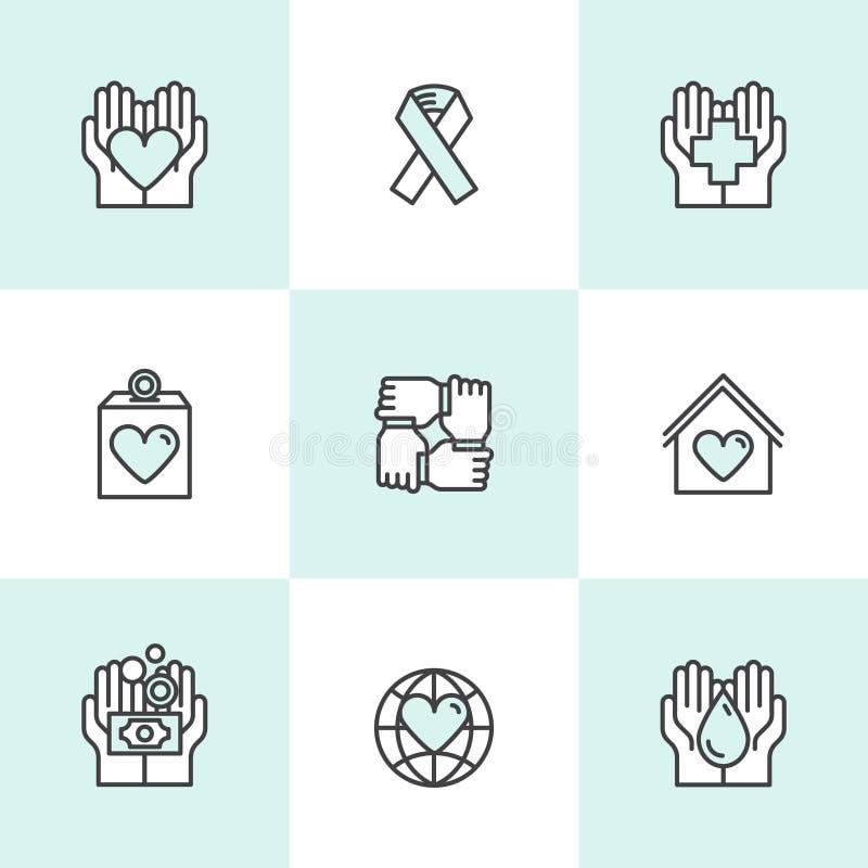 Grafische Elementen voor Organisaties en Schenkingscentrum Zonder winstbejag Liefdadigheidsinstellingssymbolen, Crowdfunding-Proj royalty-vrije illustratie