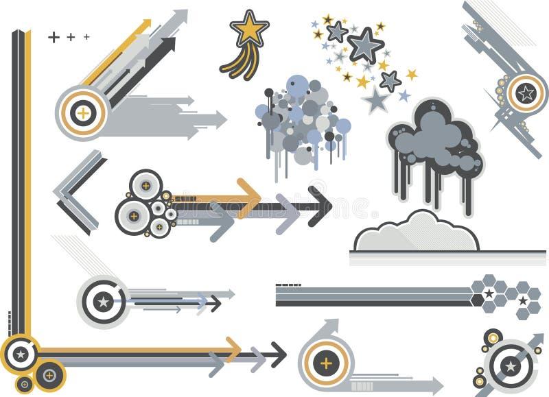 Grafische elementenmetalen royalty-vrije illustratie