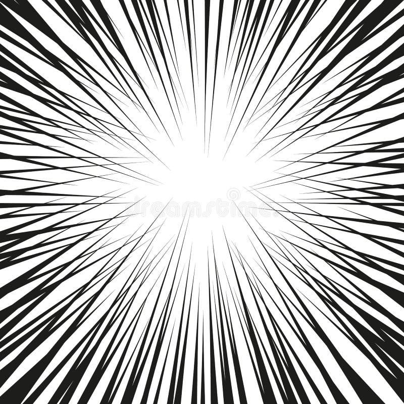 Grafische Explosion mit Geschwindigkeits-Linien Comic-Buch-Gestaltungselement Auch im corel abgehobenen Betrag stockbilder