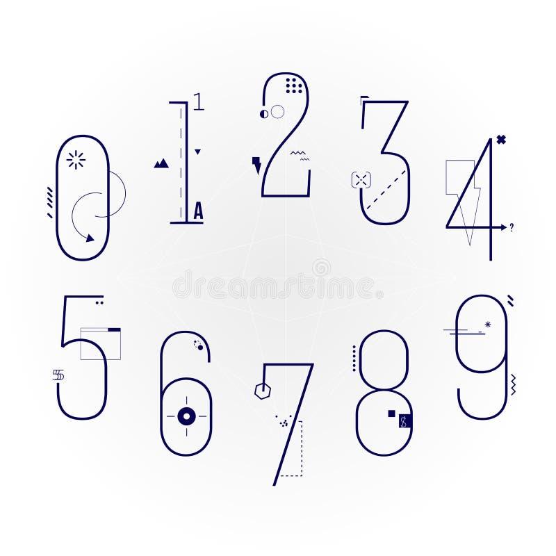 Grafische flache Linie Art Style Numbers Set Geometrisches Gegenstand-Ziffern-Schriftbild stockfoto