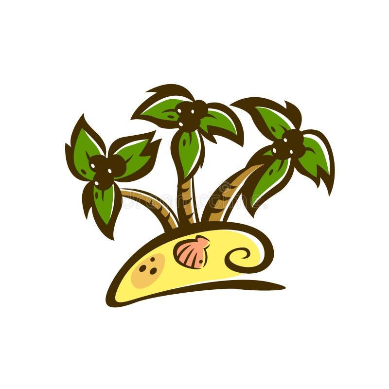 Grafische gekleurde abstracte illustratie met tropisch eiland, groene palmen, gouden strand, kokosnoten en shell vector illustratie