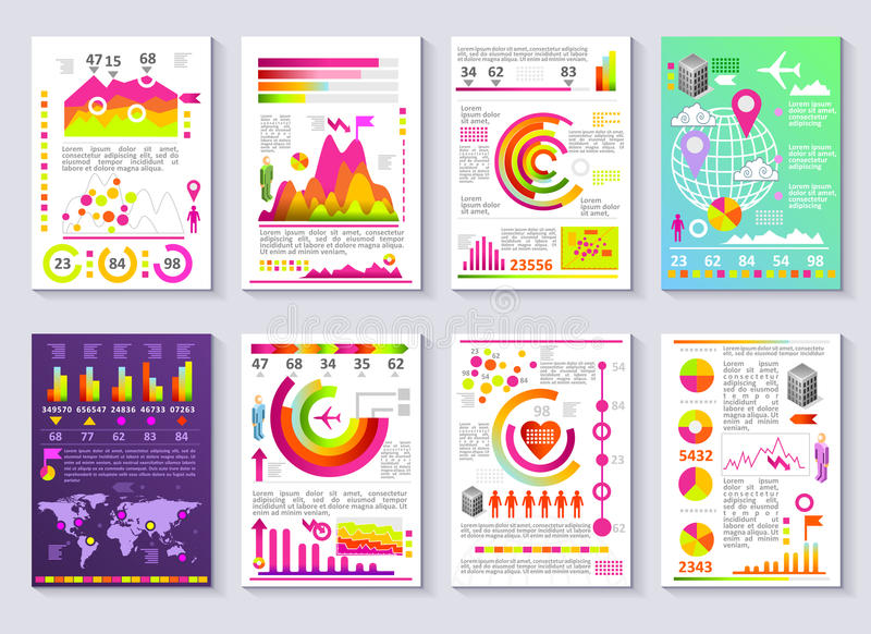 Grafische Geschäftsbericht-Vektor-Schablone moderner Infographic-Satz vektor abbildung