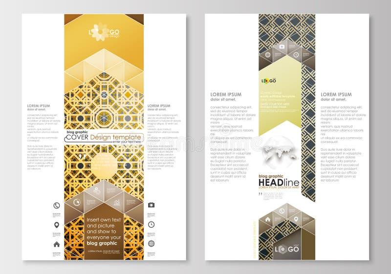 Grafische Geschäftsschablonen des Blogs Seitenwebsite-Designschablone, einfacher editable, flacher Plan Islamisches Goldmuster lizenzfreie abbildung