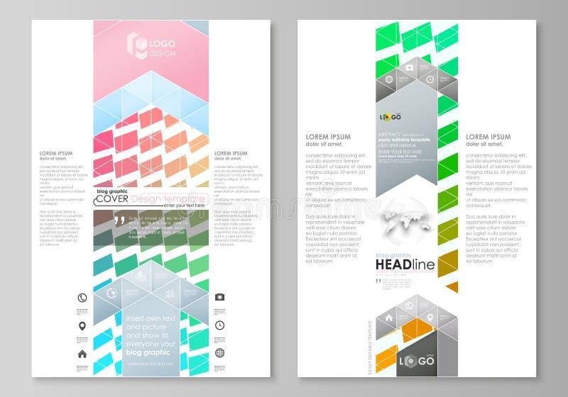 Grafische Geschäftsschablonen des Blogs Seitenwebsite-Designschablone, einfacher editable Vektorplan Bunte Rechtecke, bewegend lizenzfreie abbildung