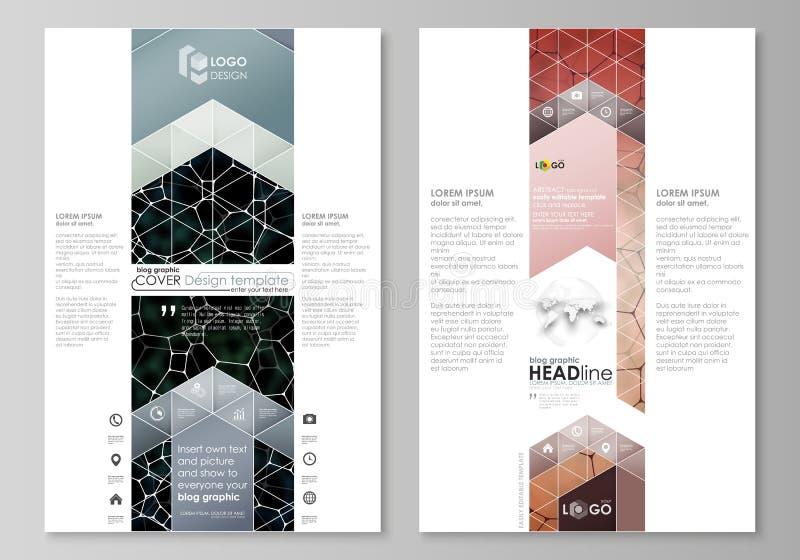 Grafische Geschäftsschablonen des Blogs Seitenwebsite-Designschablone, Vektorplan Chemiemuster, molekulare Beschaffenheit stock abbildung