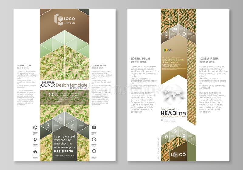 Grafische Geschäftsschablonen des Blogs Seitenwebsiteschablone, Vektorplan Abstraktes grüne Farbhölzernes Design Hölzerne Beschaf vektor abbildung