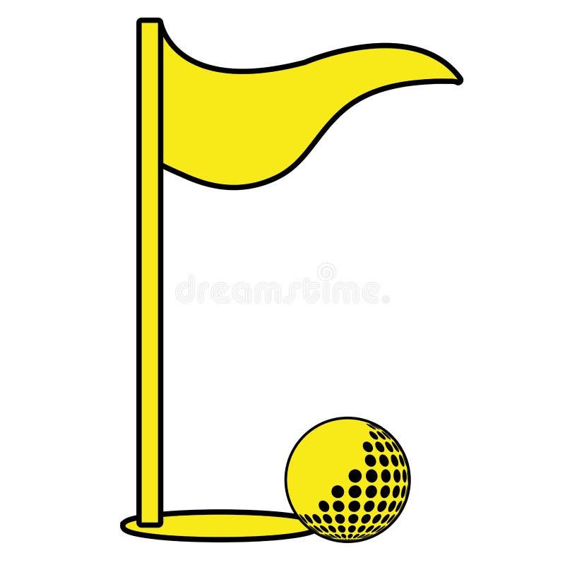 grafische golfbal en vlag, vector illustratie