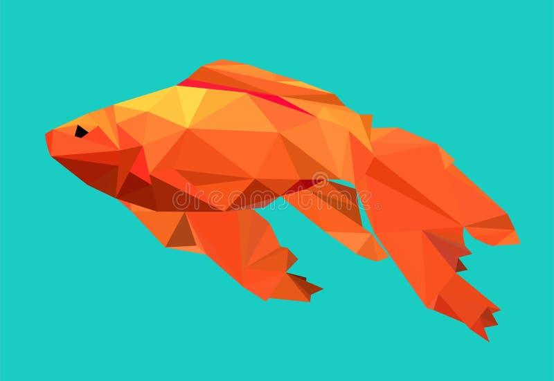 Grafische goudvis op blauwe achtergrond royalty-vrije illustratie
