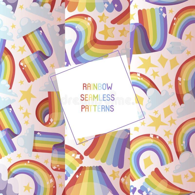 Grafische het weer vectorillustratie van de regenboog heldere kleurrijke hemel Van de de vormfantasie van de spectrumkromme mooie stock illustratie