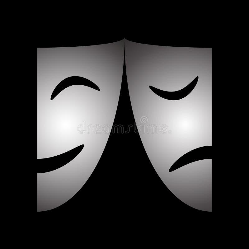 Grafische Ikone der Theatermasken stock abbildung