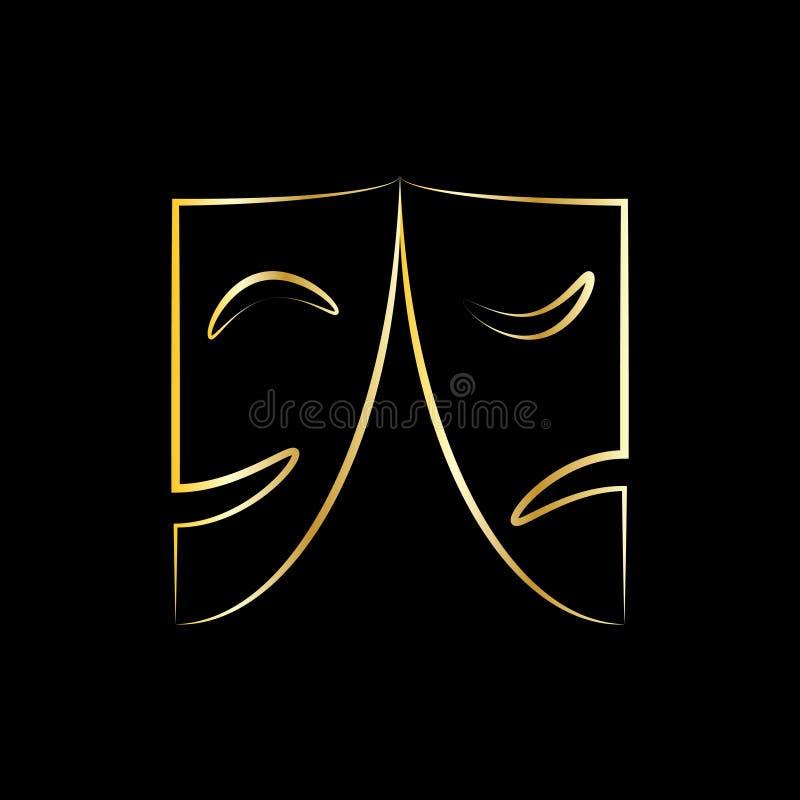 Grafische Ikone der Theatermasken lizenzfreie abbildung