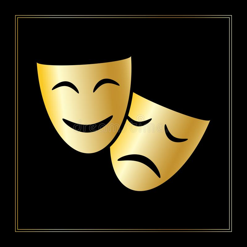 Grafische Ikone der Theatermasken vektor abbildung