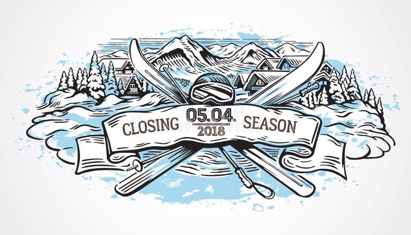 Grafische illustratie die berg het ski?en symboliseren royalty-vrije illustratie