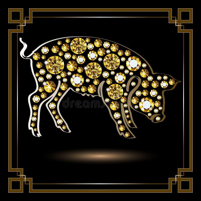 Grafische illustratie met decoratief varken 2 stock illustratie
