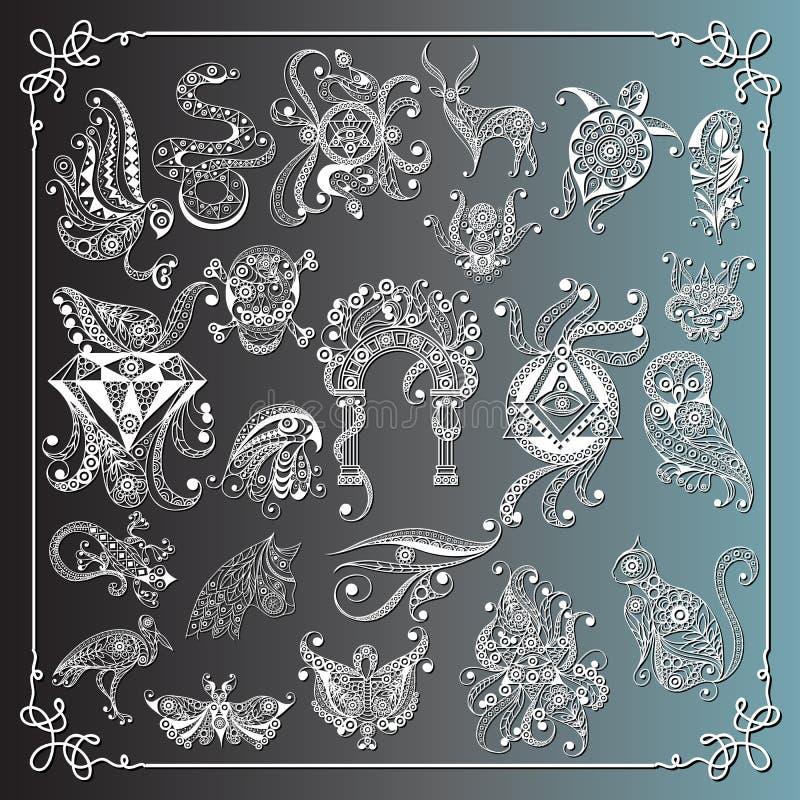 Grafische illustratie met geheime symbols_set 1 stock illustratie