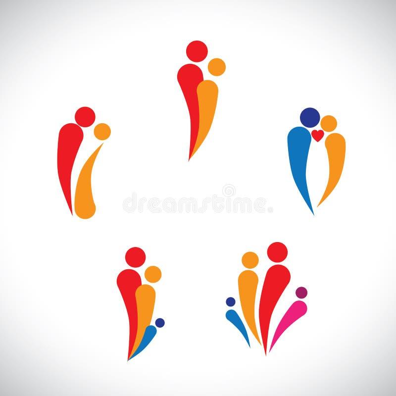 De grafische ouders van het familieconcept & kinderen, paar samen vector illustratie