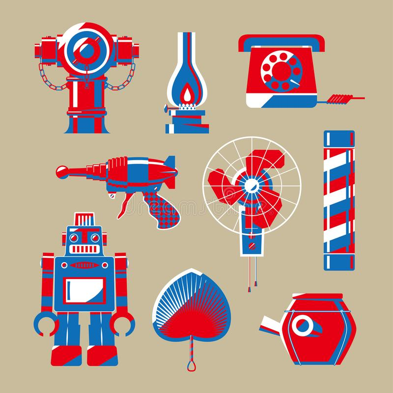 Grafische illustratie van de nostalgische materialen van Hong Kong stock illustratie