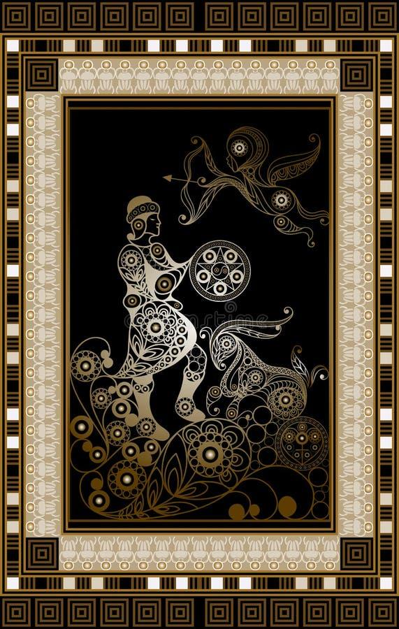Grafische illustratie van een Tarotkaart 4 royalty-vrije illustratie