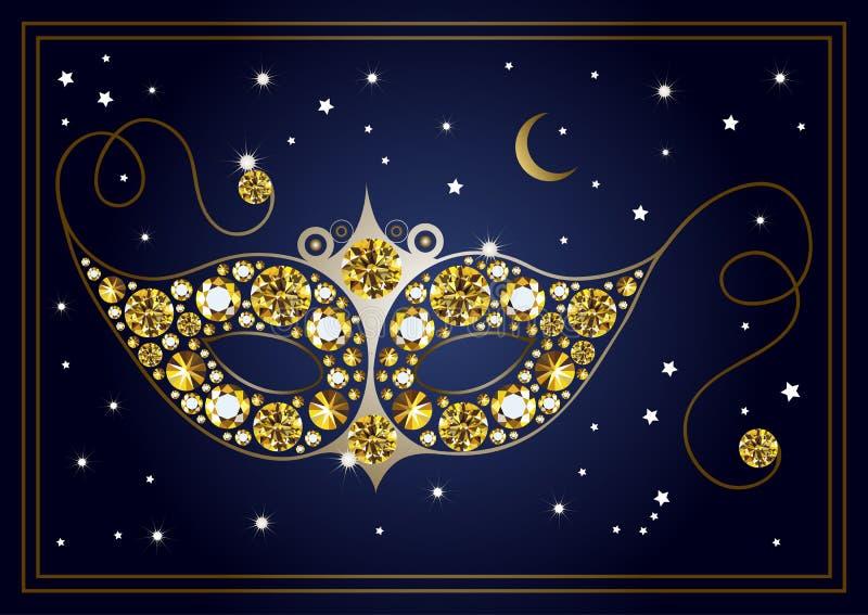 Grafische illustratie van het masker met diamanten 22 stock illustratie