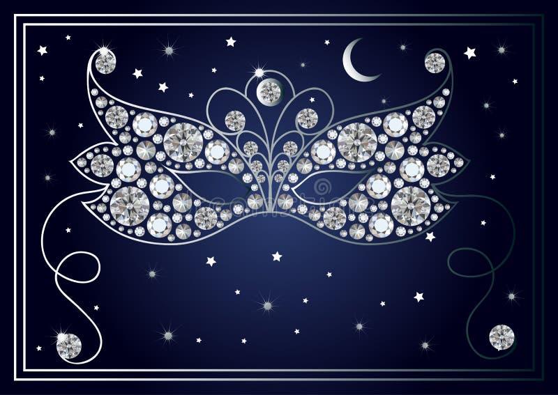 Grafische illustratie van het masker met diamanten 38 royalty-vrije illustratie