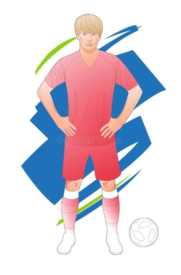 Grafische illustratie van stijve lijn van voetbalster met dynamische energieachtergrond royalty-vrije illustratie