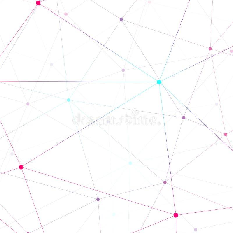 Grafische illustratiemolecule en mededeling Kleurrijke Punten met verbindingen voor uw ontwerp stock illustratie