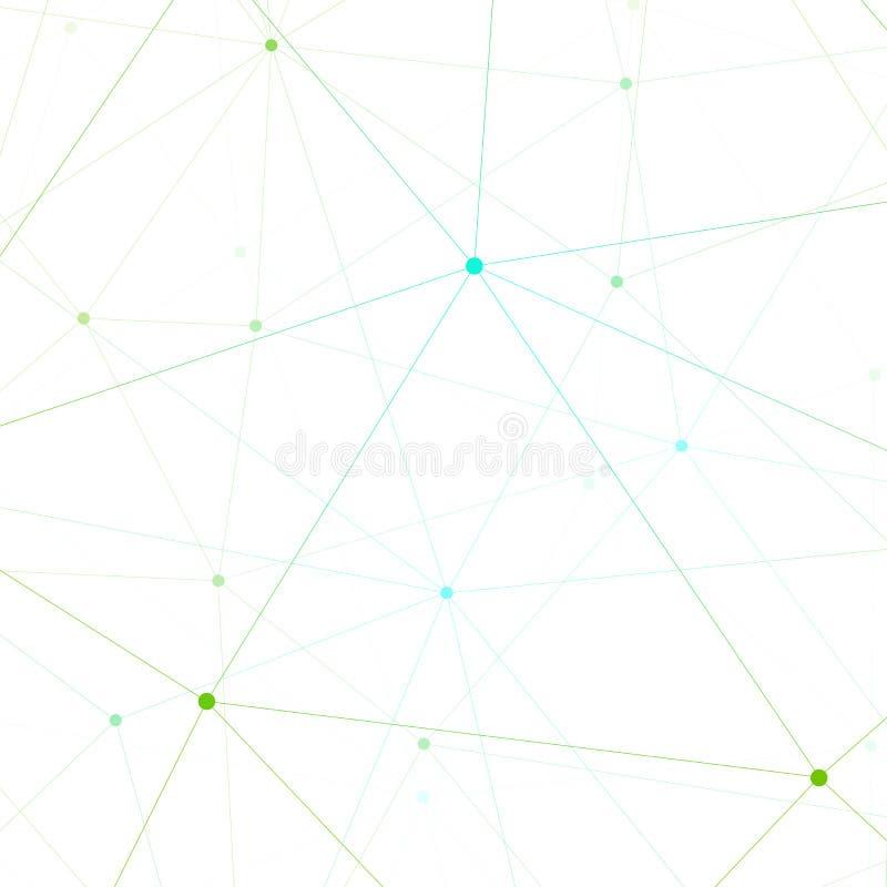 Grafische illustratiemolecule en mededeling Kleurrijke Punten met verbindingen voor uw ontwerp royalty-vrije illustratie