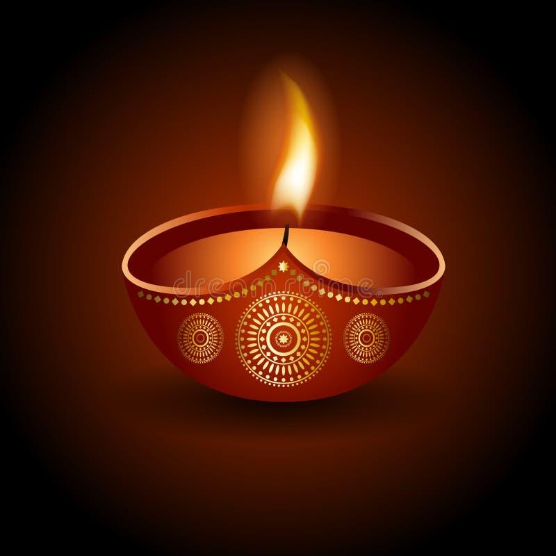 Grafische Illustration des brennenden diya von Diwali-Feier lizenzfreie abbildung