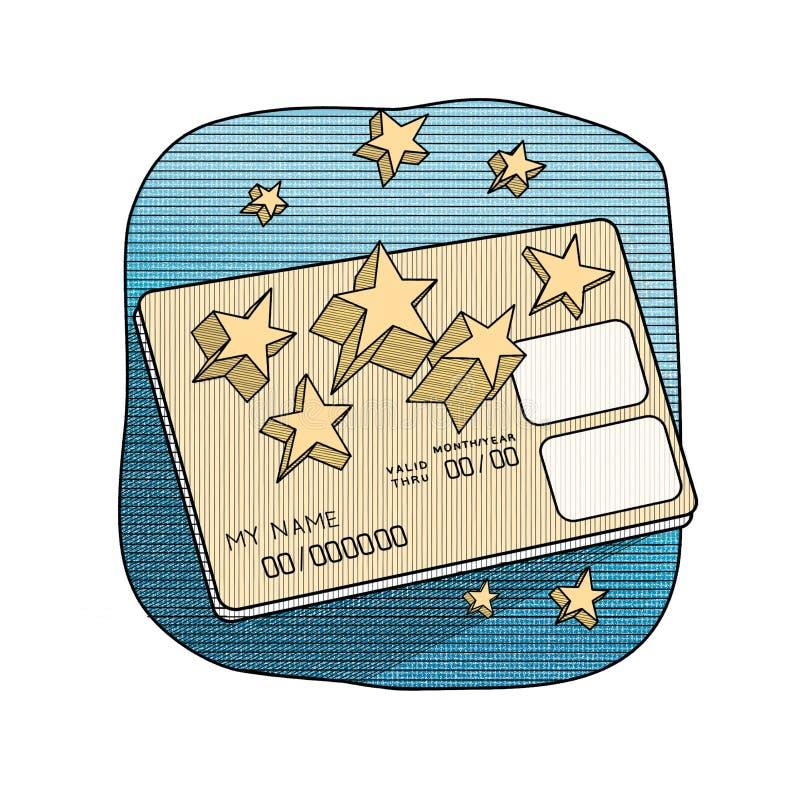 Grafische Illustration - eine Bankkarte mit dreidimensionalen Sternen stich Blau und Gold stock abbildung