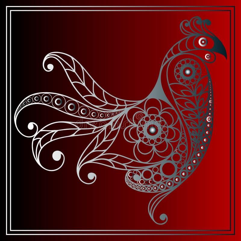 Grafische Illustration mit einem brennenden Hahn 16 stock abbildung