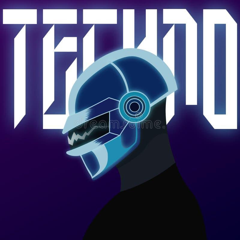 Grafische inschrijving op de achtergrond van een mens in een helm van DJ ` s royalty-vrije illustratie