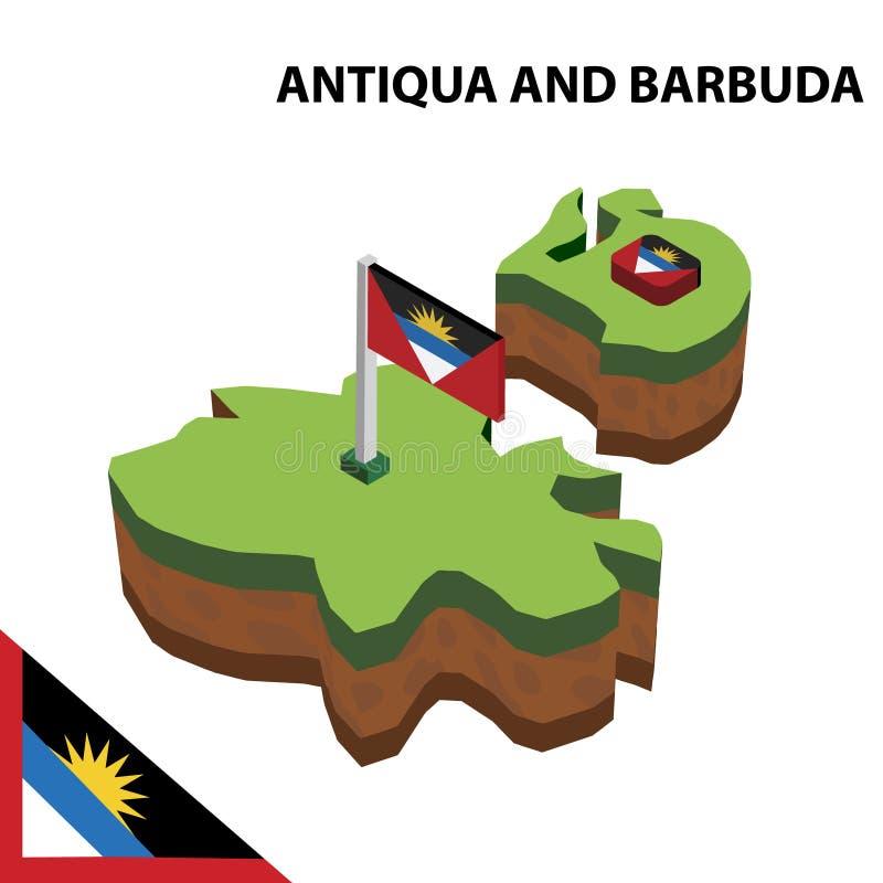 Grafische isometrische Karte der Informationen und Flagge des Antigua und Barbuda isometrische Illustration des Vektors 3d stock abbildung