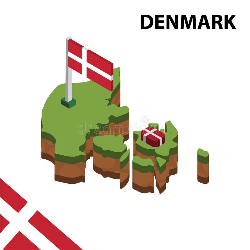 Grafische isometrische Karte der Informationen und Flagge von DÄNEMARK isometrische Illustration des Vektors 3d lizenzfreie abbildung