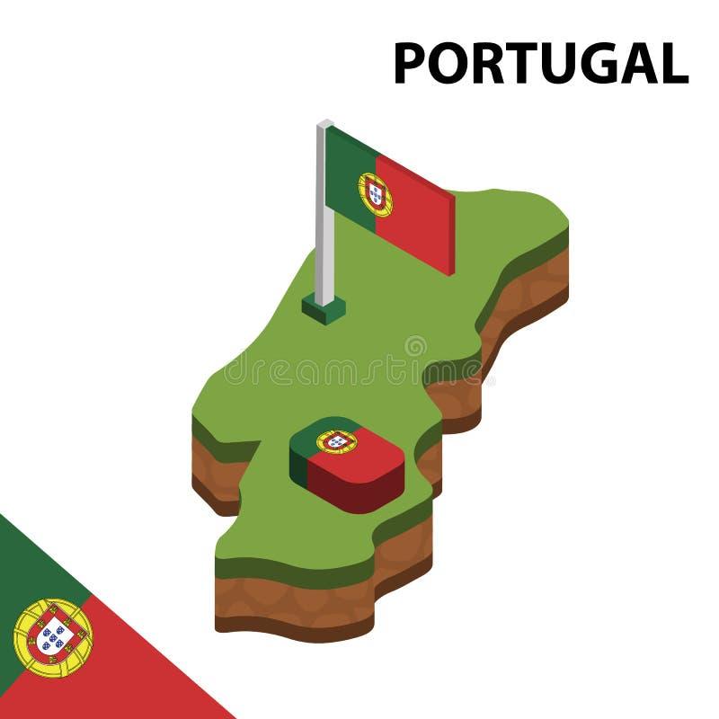 Grafische isometrische Karte der Informationen und Flagge von PORTUGAL isometrische Illustration des Vektors 3d lizenzfreie abbildung