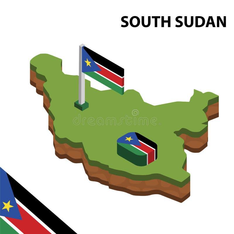Grafische isometrische Karte der Informationen und Flagge von SÜD-SUDAN isometrische Illustration des Vektors 3d vektor abbildung