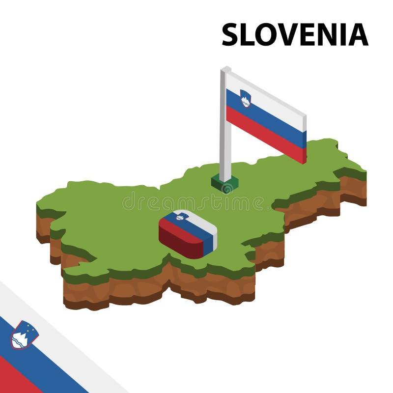 Grafische isometrische Karte der Informationen und Flagge von SLOWENIEN isometrische Illustration des Vektors 3d stock abbildung