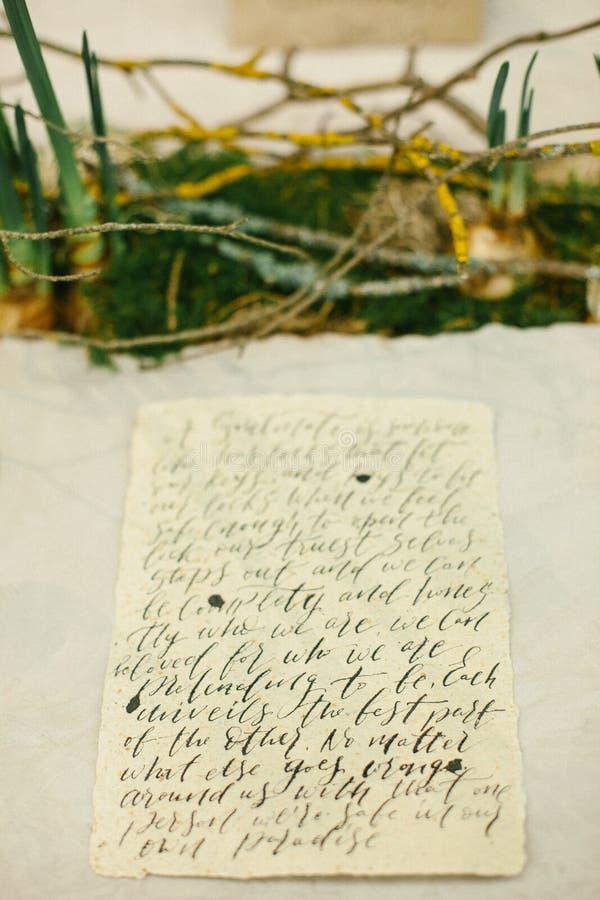 Grafische Künste von schönen Hochzeitskalligraphiekarten und Zwiebel der Narzisse und Moos stockbilder