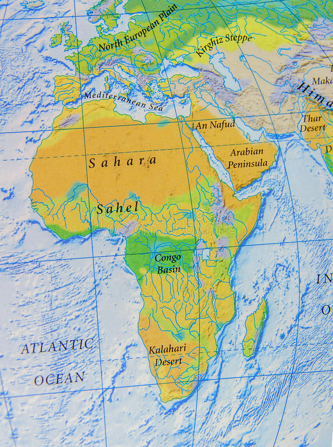 Grafische Karte von Afrika-Abschluss lizenzfreie stockbilder