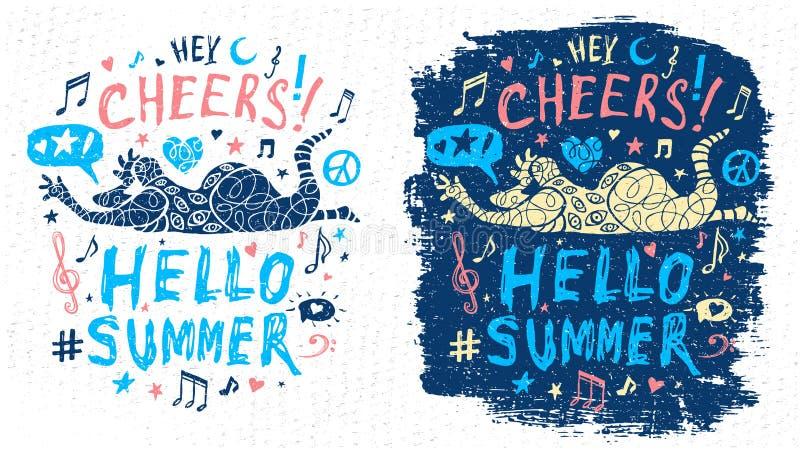 Grafische Kunst des lustigen kühlen Geckcharakterthemamusikparteigekritzelartbeschriftungsslogans für T-Shirt Entwurfs-Druckplaka vektor abbildung