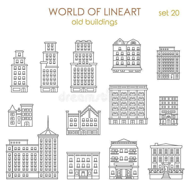 Grafische lineartvector van architectuur historische oude gebouwen royalty-vrije illustratie
