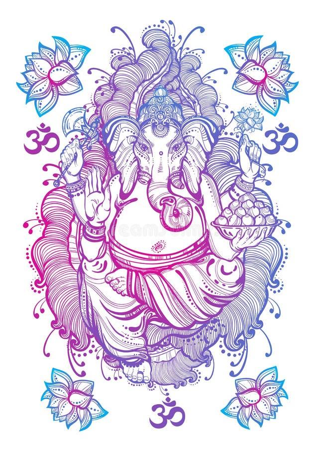 Grafische lokalisierte Grafik der Art der Weinlese Lord Ganesha Hochwertige Vektorillustration, Tätowierungskunst, Yoga, Inder, B stock abbildung