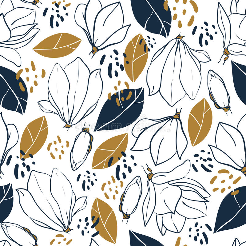Grafische Magnolie blüht, Knospen, Blätter und Dschungelstellen Vector modisches nahtloses Muster in den tiefen Blau- und Senffar stock abbildung